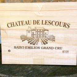 Caisse bois 3 bouteilles Château de Lescours
