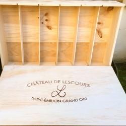 Caisse bois 6 bouteilles Château de Lescours (format rectangulaire et plat)