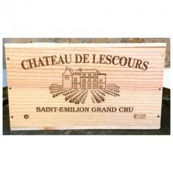 Caisse bois 6 bouteilles Château de Lescours (format haut )